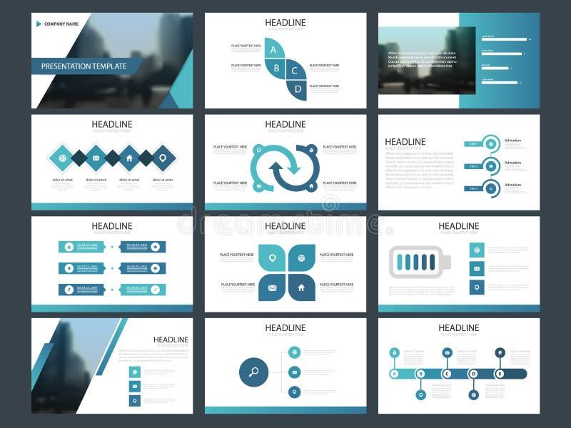 Mall för presentation för beståndsdelar för blå triangelpacke infographic affärsårsrapport, broschyr, broschyr, advertizingreklam royaltyfri illustrationer