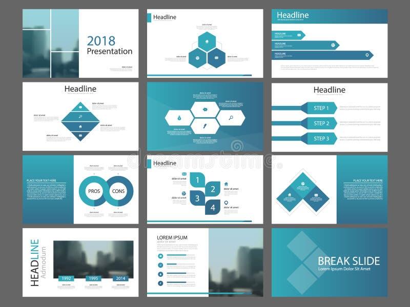 Mall för presentation för beståndsdelar för blå triangelpacke infographic affärsårsrapport, broschyr, broschyr, advertizingreklam vektor illustrationer