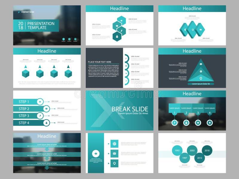 Mall för presentation för beståndsdelar för grön triangelpacke infographic affärsårsrapport, broschyr, broschyr, advertizingrekla stock illustrationer