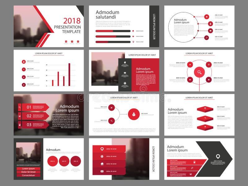 Mall för presentation för beståndsdelar för röd triangelpacke infographic affärsårsrapport, broschyr, broschyr, advertizingreklam stock illustrationer