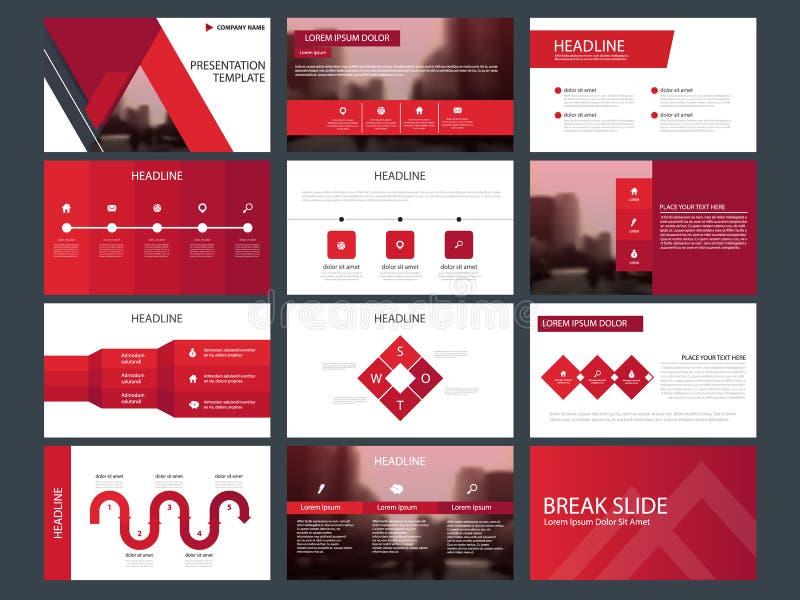 Mall för presentation för beståndsdelar för röd triangelpacke infographic affärsårsrapport, broschyr, broschyr, advertizingreklam vektor illustrationer