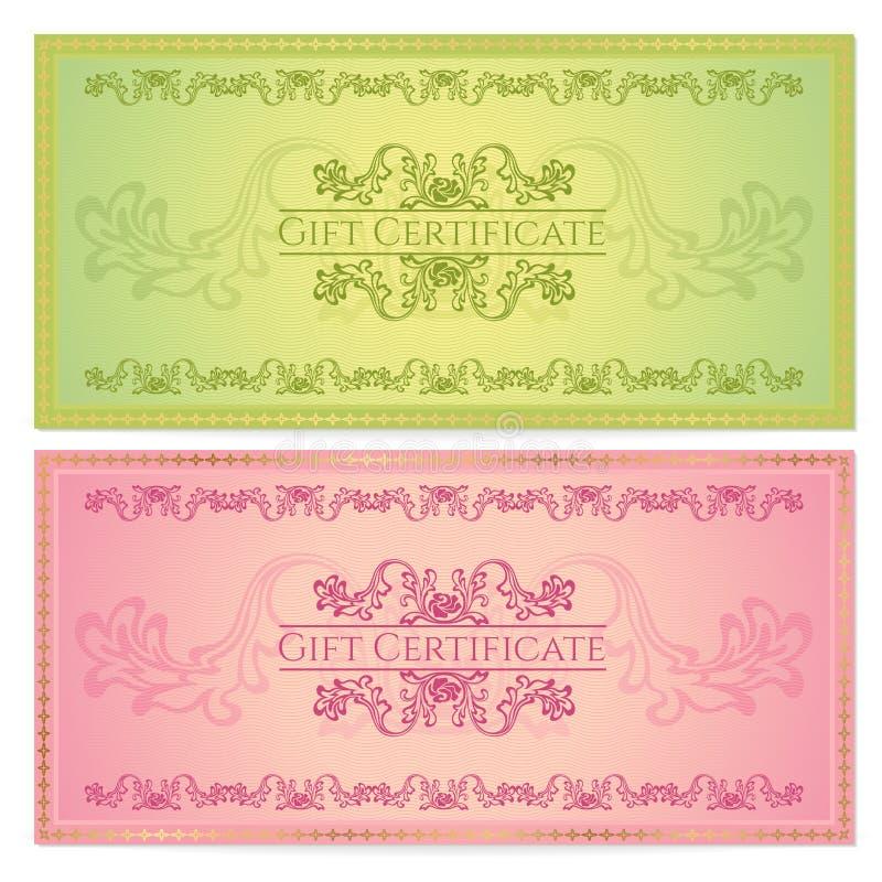 Mall för presentkort (kupong, kupong) royaltyfri illustrationer