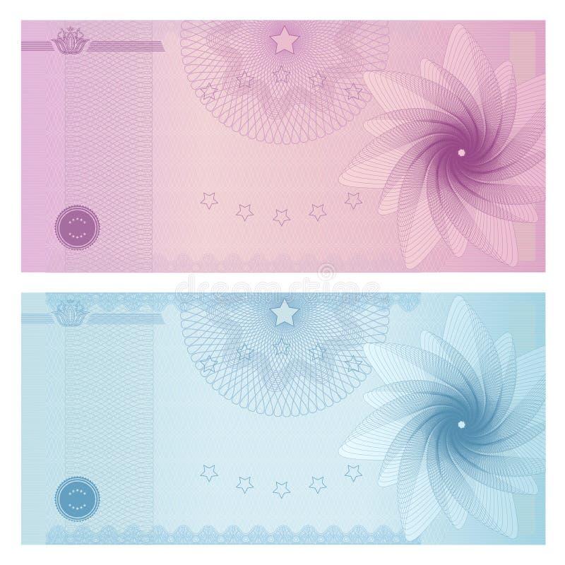 Mall för presentkort (kupong, kupong) vektor illustrationer