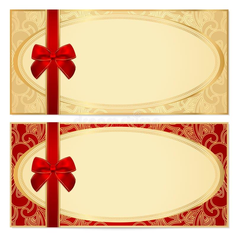 Mall för presentkort (kupong). Pilbåge modell stock illustrationer