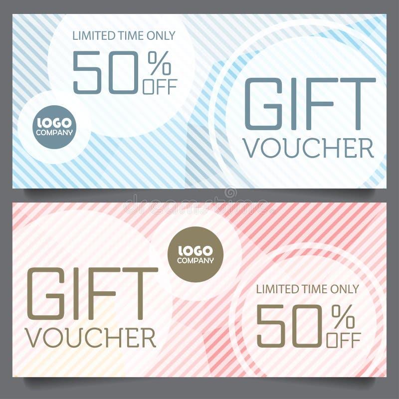 Mall för presentkortcertifikatkupong stock illustrationer