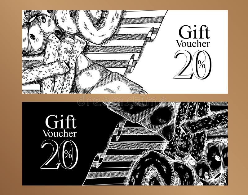 Mall för presentkortmatdesign svart white stock illustrationer