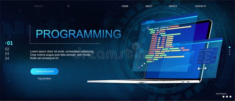 Mall för programmera eller programvaruutvecklingswebbsida stock illustrationer