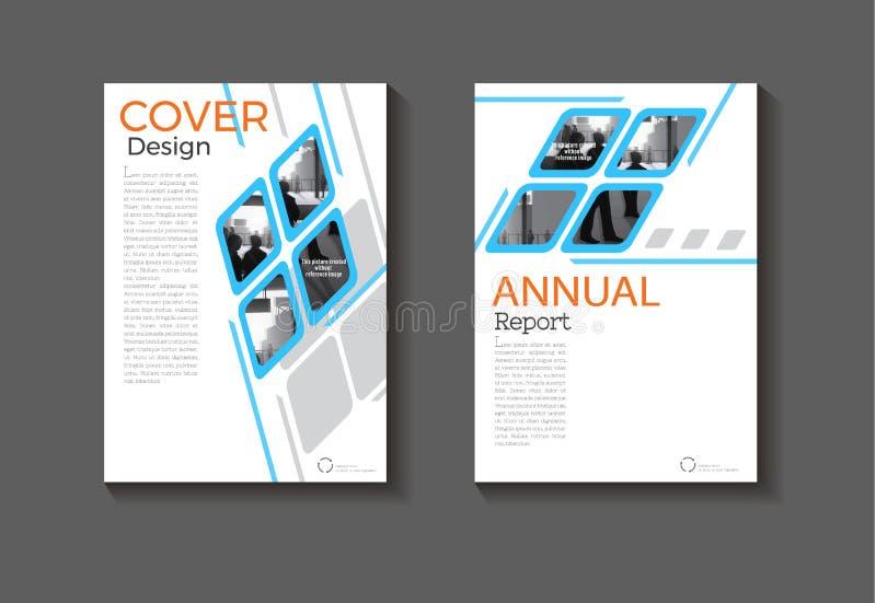 Mall för räkning för broschyr för bokomslag för blå fyrkantig för bakgrundsabstrakt begrepp modern design för räkning modern, års stock illustrationer