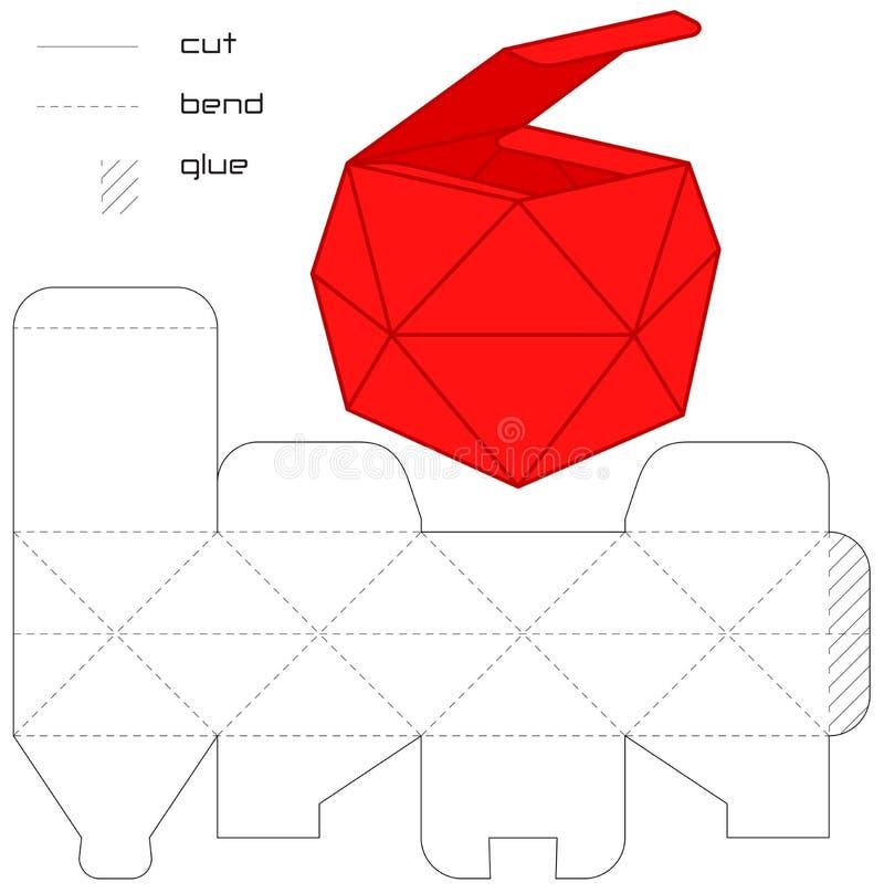 mall för röd fyrkant för ask casket klippt aktuell royaltyfri illustrationer
