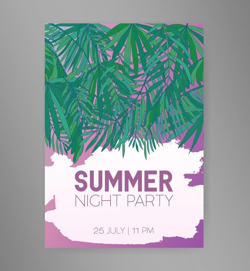 Mall för reklamblad eller för inbjudan för parti för sommarnatt med att hänga gröna tropiska palmblad eller lövverk av den exotis vektor illustrationer