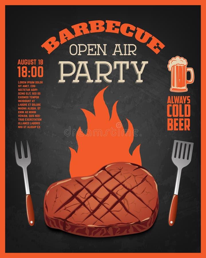 Mall för reklamblad för parti för öppen luft för grillfest Grillat kött på mörker royaltyfri illustrationer