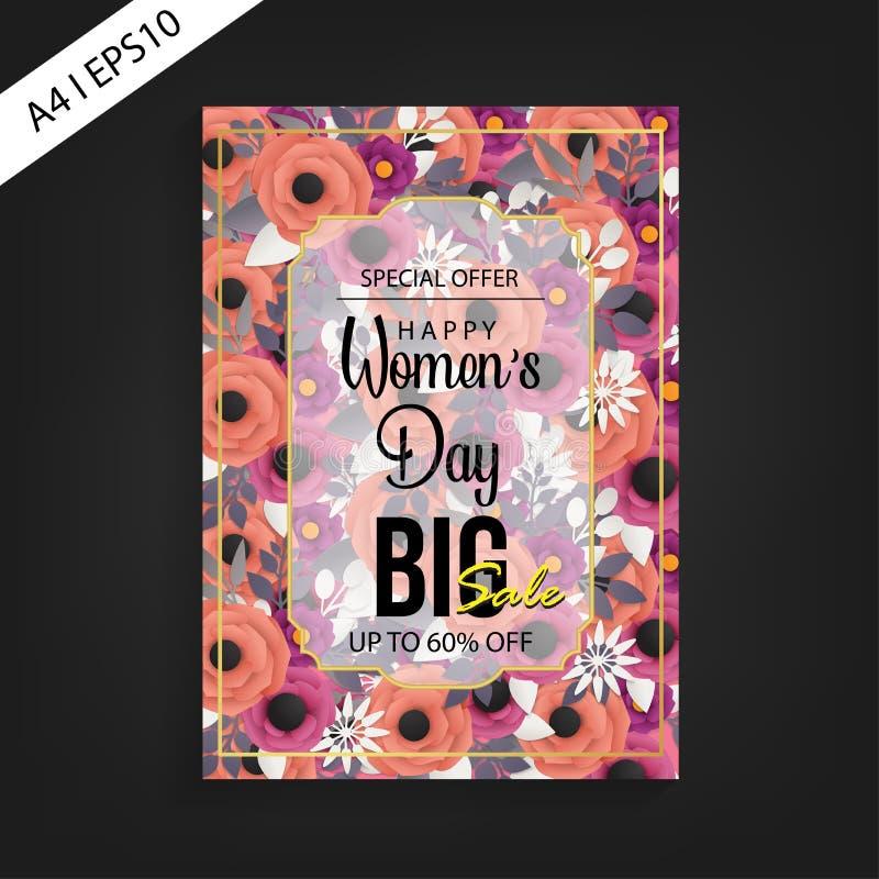 Mall för reklamblad för försäljning för lyckliga kvinnors dag stor arkivbild