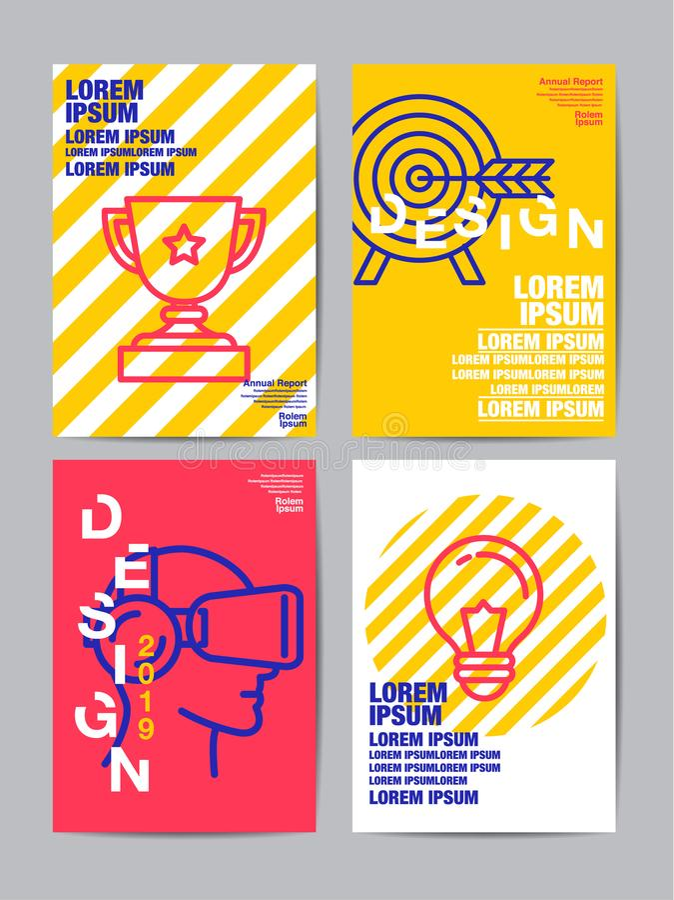 Mall för reklambladbroschyrdesign, årsrapport, räkning, plan des stock illustrationer
