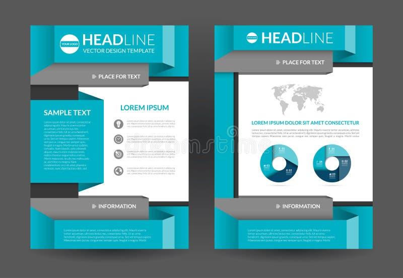 Mall för reklambladbroschyrorientering Format A4 royaltyfri illustrationer