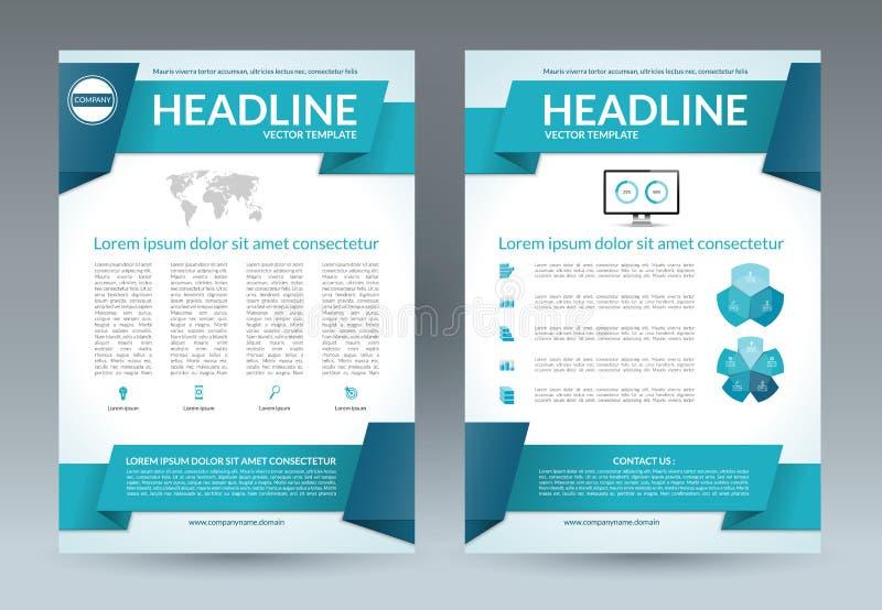 Mall för reklambladbroschyrorientering Format A4 Det kan vara nödvändigt för kapacitet av designarbete royaltyfri illustrationer