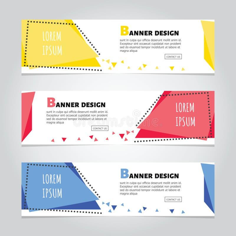 Mall för rengöringsduk för baner för geometrisk design för vektor abstrakt färgrik, bakgrundsbaner stock illustrationer