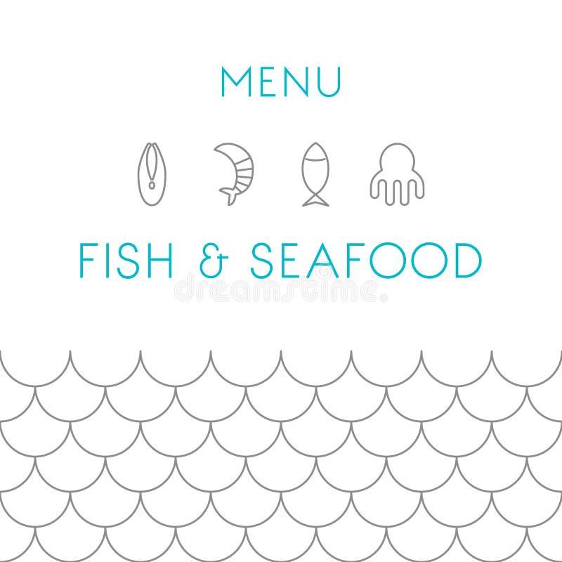 Mall för restaurangmenydesign Skaldjur vektor stock illustrationer