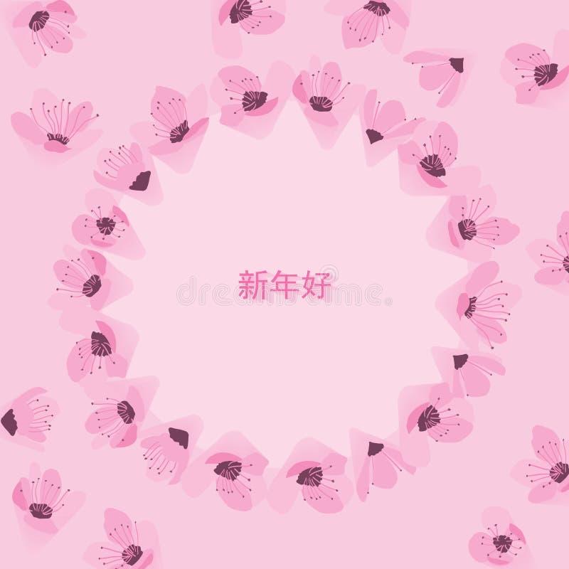 Mall för rosa färger för Cheeries blomningcirkel vektor illustrationer