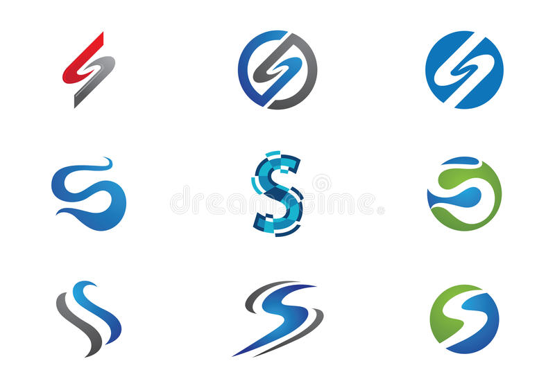 Mall för s-bokstavslogo royaltyfri illustrationer