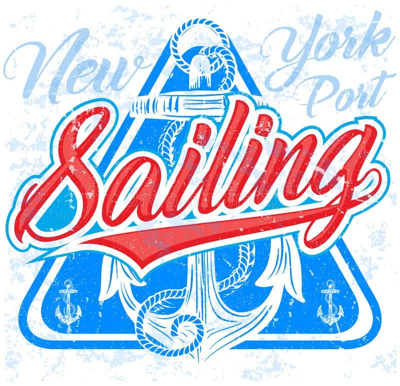 Mall för seglingaffischdesign Abstrakt bakgrund med sailboa royaltyfri illustrationer