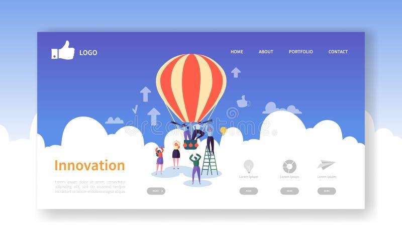 Mall för sida för affärsinnovationlandning Idérik processWebsiteorientering med plana folktecken på luftballongen vektor illustrationer