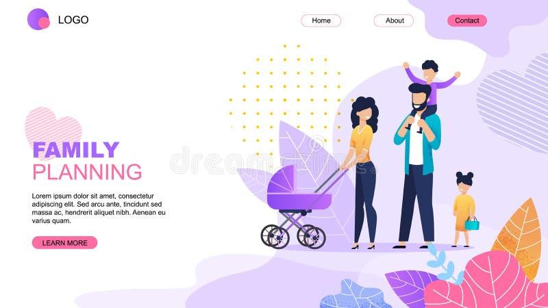 Mall för sida för familjeplaneringtecknad filmlandning vektor illustrationer