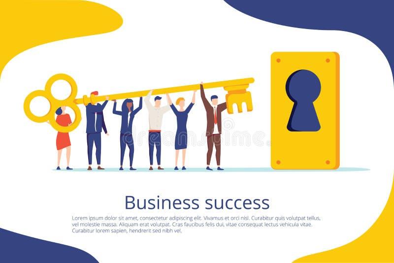 Mall för sida för landning för affärsframgång nyckel- Samarbete och teamwork är hemliga för motivationarbetsstrategi för Website royaltyfri illustrationer