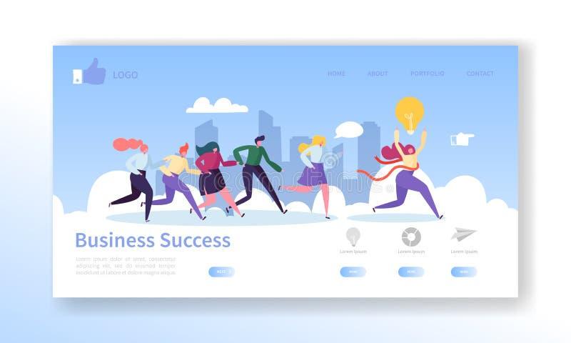 Mall för sida för landning för affärsframgång Websiteorientering med plana folktecken som kör till fullföljande ledarskap stock illustrationer