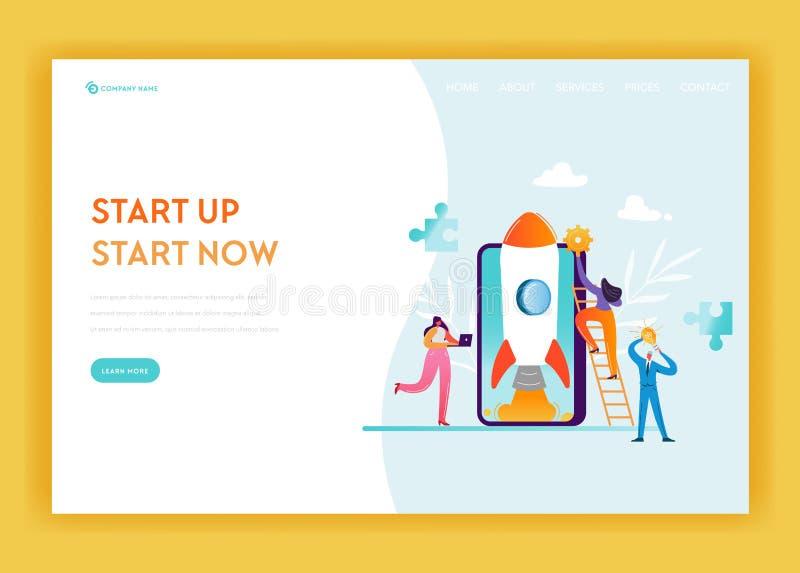 Mall för sida för landning för affärsstart Det mobila teknologi- och strategibanret med tecken för affärsfolk flyger royaltyfri illustrationer
