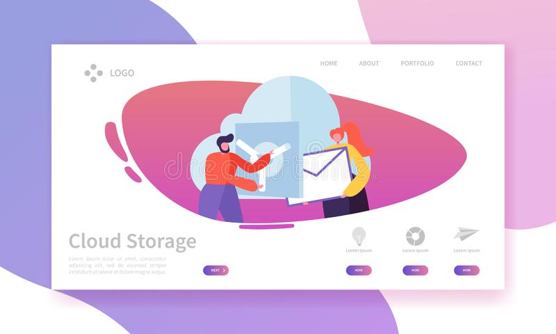 Mall för sida för landning för molnlagringsteknologi Datorhall som är värd Websiteorienteringen med plana folktecken stock illustrationer