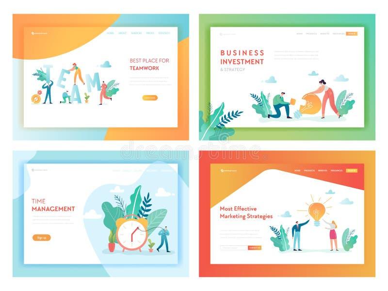 Mall för sida för landning för teamworkaffärsinvestering Begrepp för marknadsföra strategi med tecken som i regeringsställning ar royaltyfri illustrationer