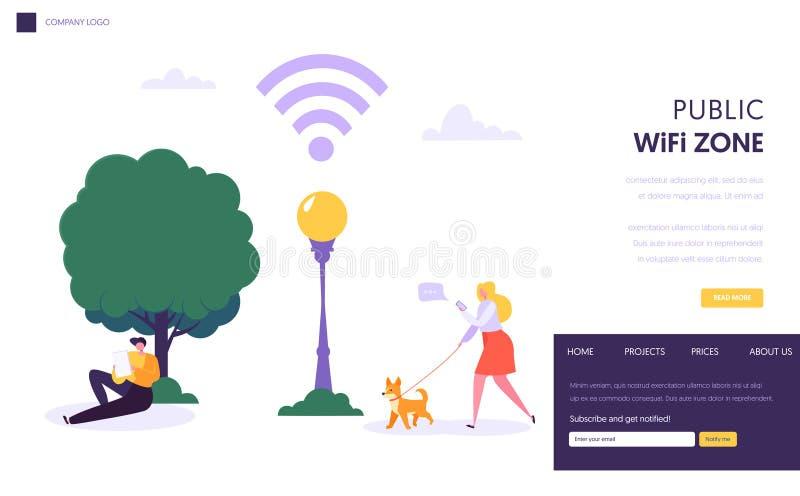 Mall för sida för landning Wifi för trådlöst nätverk royaltyfri illustrationer