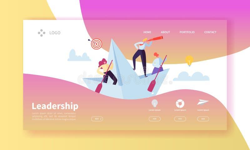 Mall för sida för ledarskapbegreppslandning Websiteorientering med plana folktecken med kikaren på pappers- skepp vektor illustrationer