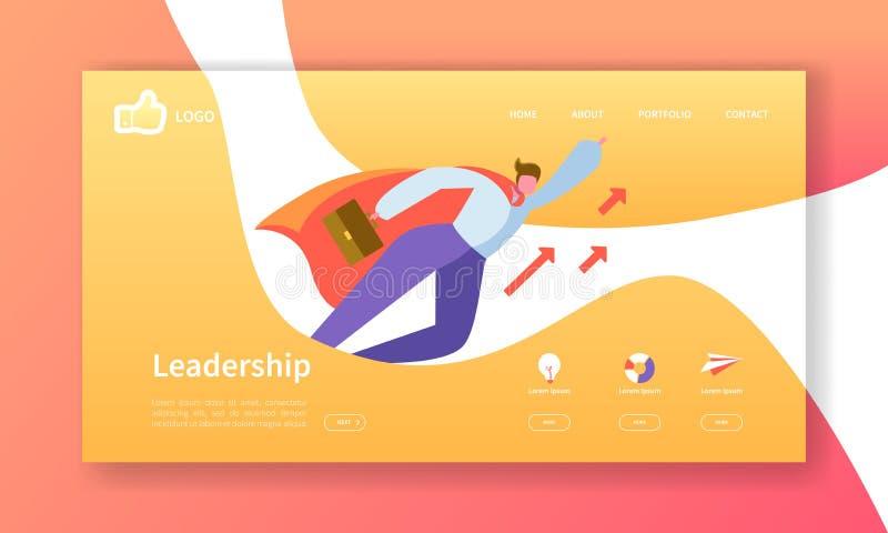 Mall för sida för Websiteutvecklingslandning Mobil applikationorientering med den plana affärsmannen Leader Lätt att redigera royaltyfri illustrationer