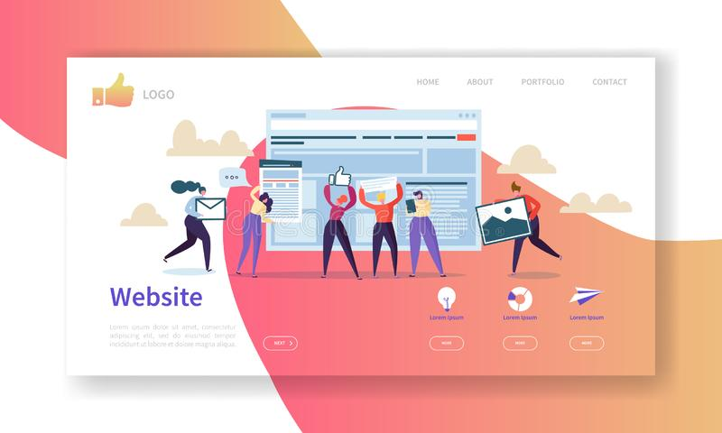 Mall för sida för Websiteutvecklingslandning Mobil applikationorientering med plana folktecken Lätt att redigera royaltyfri illustrationer