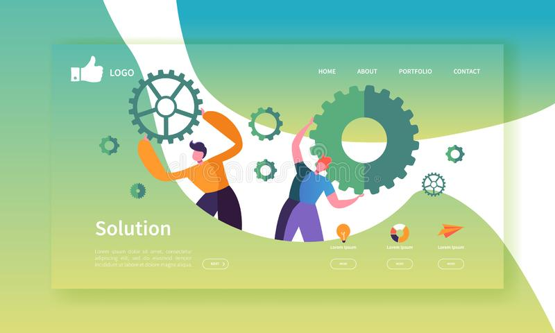 Mall för sida för Websiteutvecklingslandning Mobil applikationorientering med plant affärsfolk som rymmer kugghjul team arbete vektor illustrationer