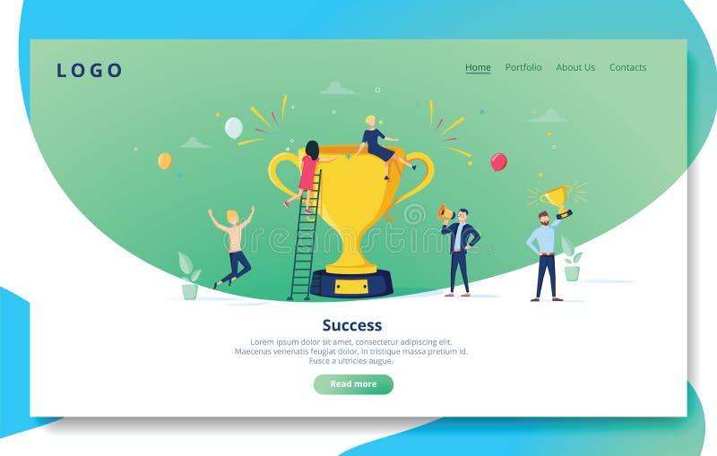 Mall för sida för Websiteutvecklingslandning Mobil applikationorientering med plant folk med det guld- priset Affär royaltyfri illustrationer