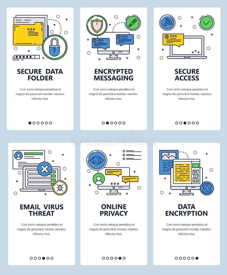 Mall för skärmar för linjär konst för vektorwebbplats onboarding Cybersäkerhet och kodad messaging app Säkra data och royaltyfri illustrationer