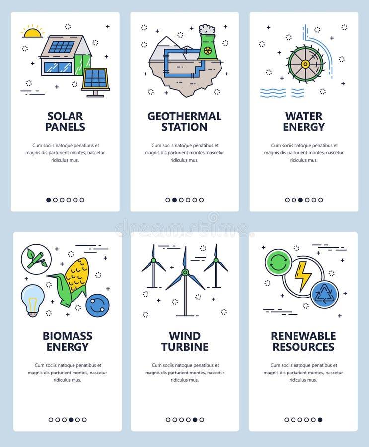 Mall för skärmar för linjär konst för vektorwebbplats onboarding Förnybara källor och kraftverk för alternativ energi meny stock illustrationer