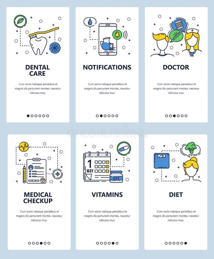 Mall för skärmar för linjär konst för vektorwebbplats onboarding Sjukvård och medicinska undersökningar, doktor, vitaminer Menyba stock illustrationer
