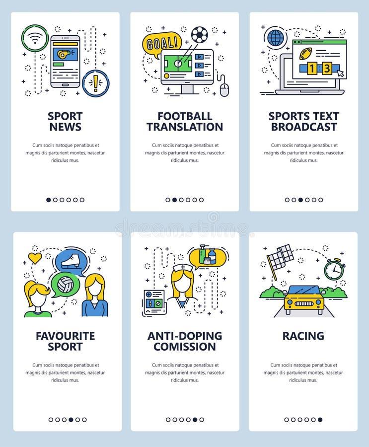 Mall för skärmar för linjär konst för vektorwebbplats onboarding Sportnyheterna och online-favorit- sport för tvTV-sändning och a stock illustrationer