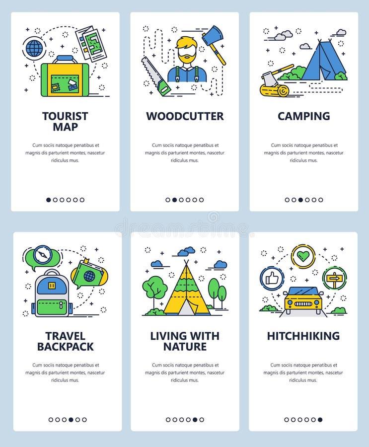 Mall för skärmar för linjär konst för vektorwebbplats onboarding Utomhus- lopp som fotvandrar och campar Skogshuggare turist- öve royaltyfri illustrationer