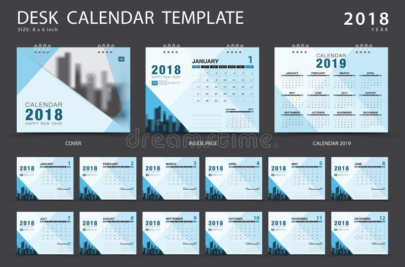 Mall 2018 för skrivbordkalender Uppsättning av 12 månader stock illustrationer