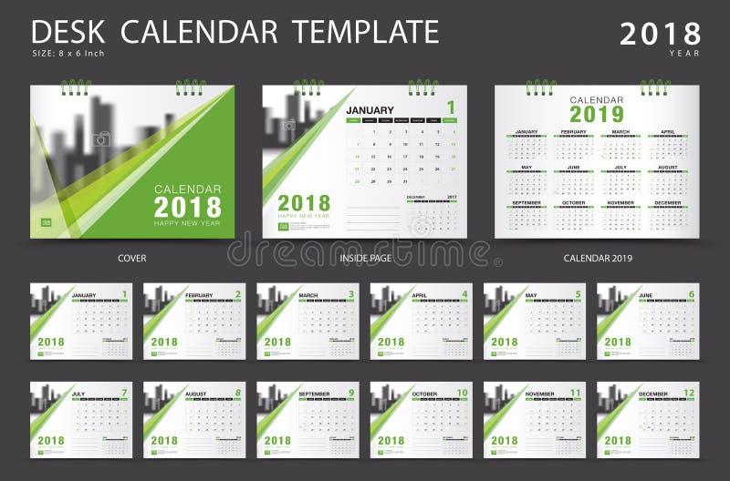 Mall 2018 för skrivbordkalender Uppsättning av 12 månader planner royaltyfri illustrationer