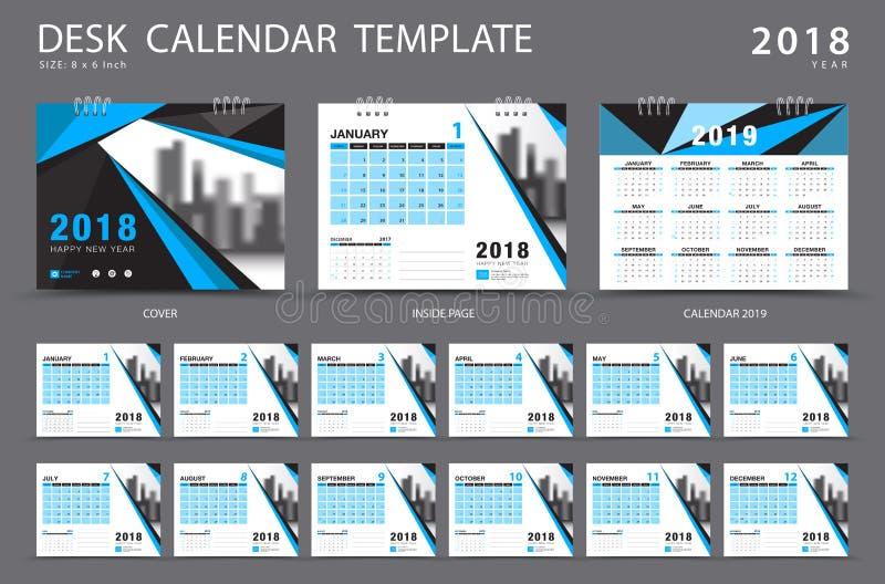 Mall 2018 för skrivbordkalender Uppsättning av 12 månader planner blå räkning stock illustrationer