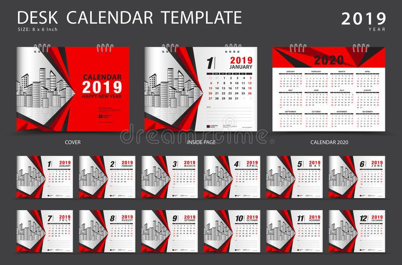 Mall 2019 för skrivbordkalender Uppsättning av 12 månader planner Veckastarter på söndag royaltyfri foto
