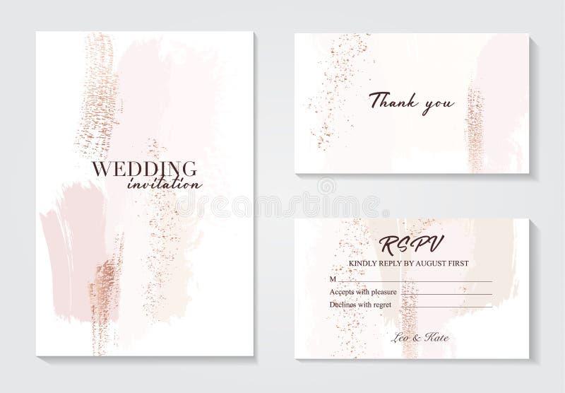 Mall för slaglängder för vektorvattenfärgborste idérik Moedrn bröllopkort med marmorerar textur och guld Abstrakt design royaltyfri illustrationer