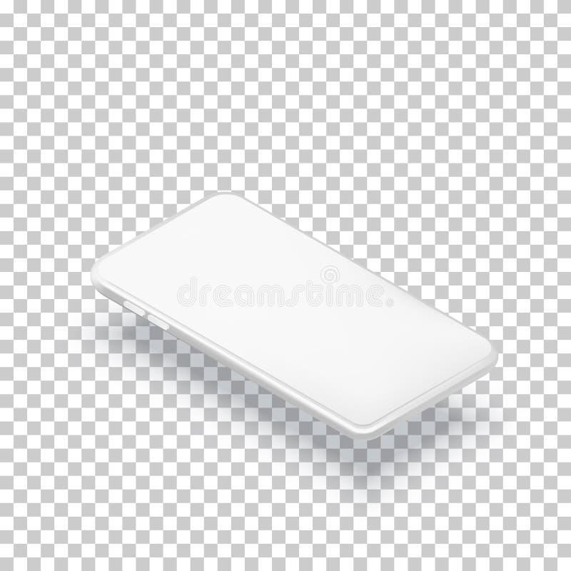 Mall för Smartphone horisontalmodelldesign Realistisk isometrisk illustration 3d för vektor av den vita mobiltelefonen royaltyfri illustrationer