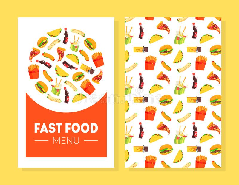 Mall för snabbmatmenykort, restaurang, kafédesignbeståndsdel, baner, inbjudan, kupong, reklamblad, kupong, broschyr stock illustrationer