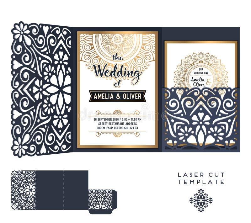 Mall för snitt för laser för vektorbröllopkort dekorativ elementtappning royaltyfri illustrationer